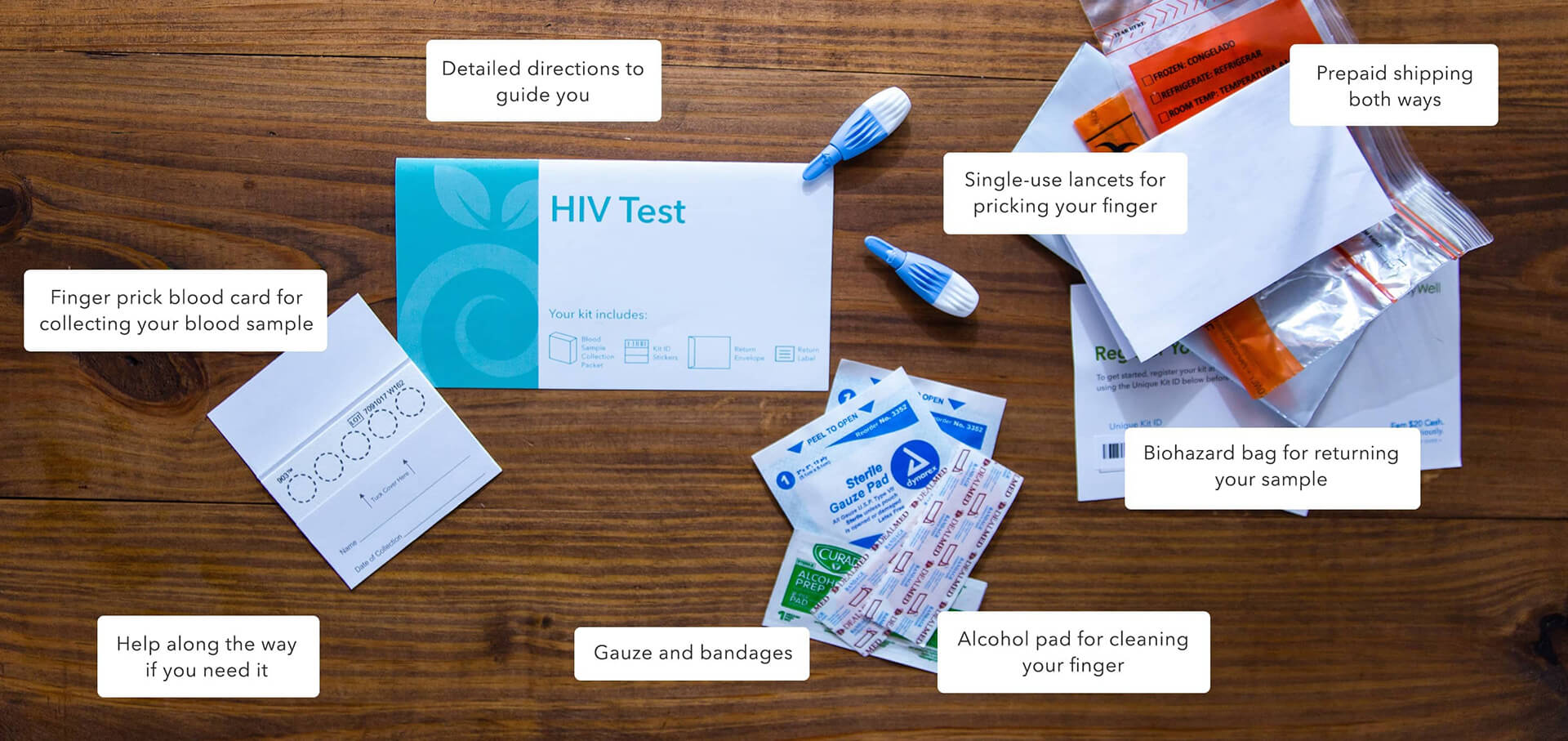 At-home HIV Test kit components