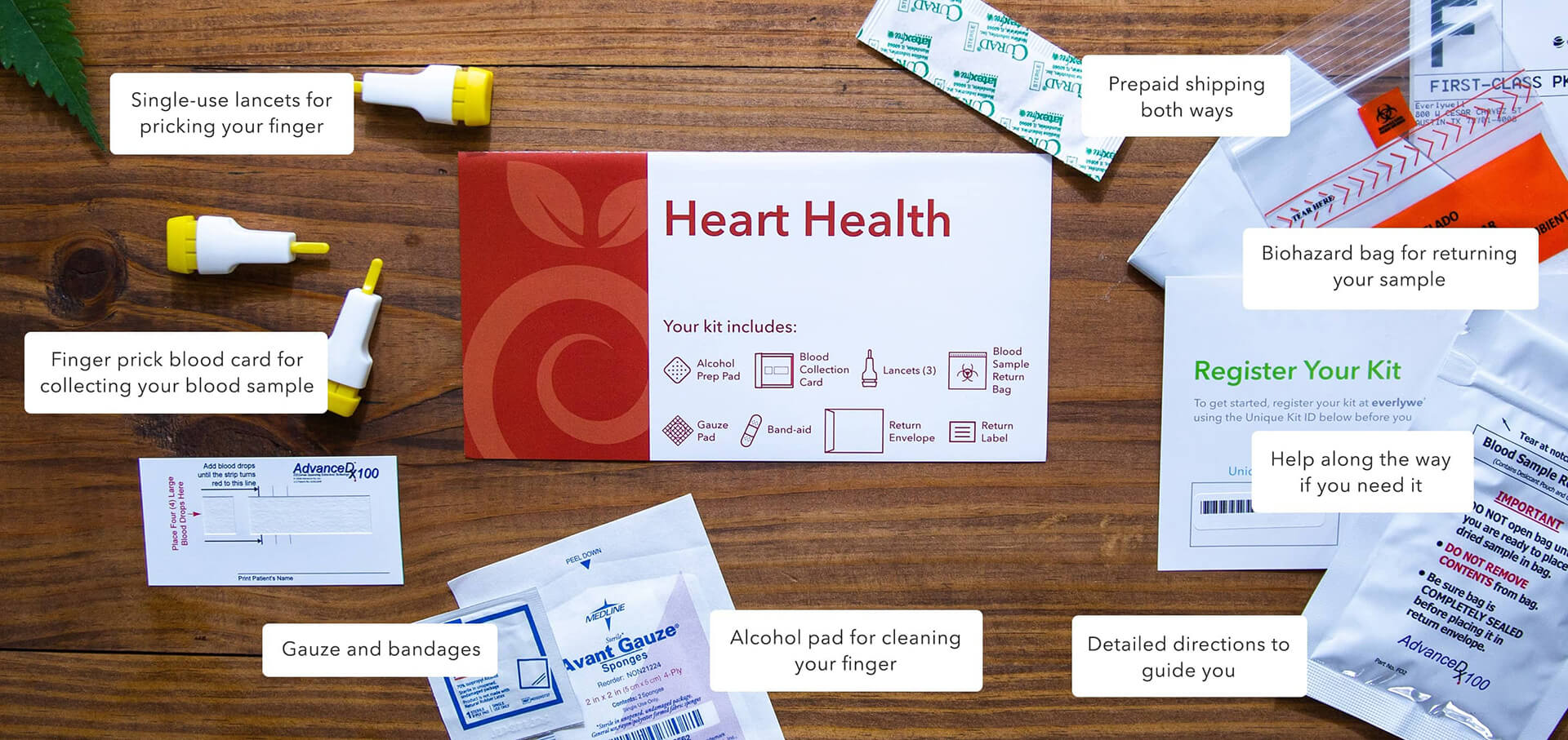 At-home Heart Health Test kit components