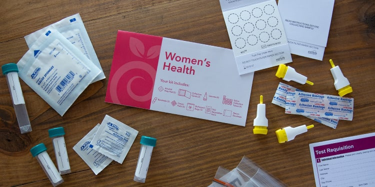 At-home Women's Health Test kit components